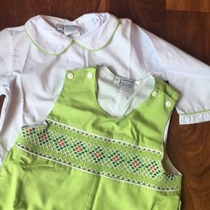 sweet dreams Matching Sets - Smocked Christmas longall set with lace embroidery
